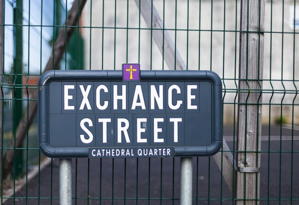 Exchange Street, Belfast sign