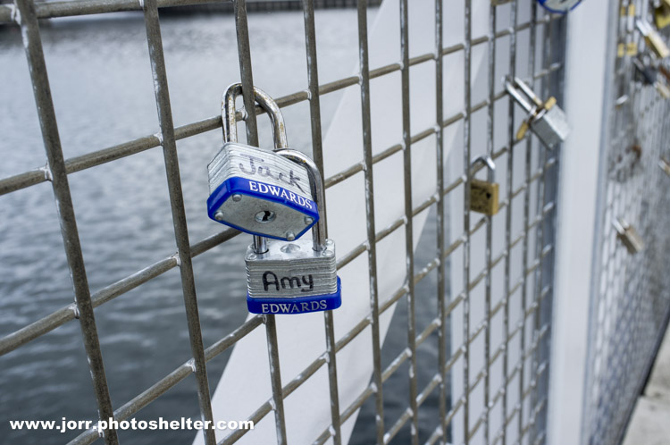 Padlocks on the Lagan Footbridge with the names Jack and Amy, J Orr