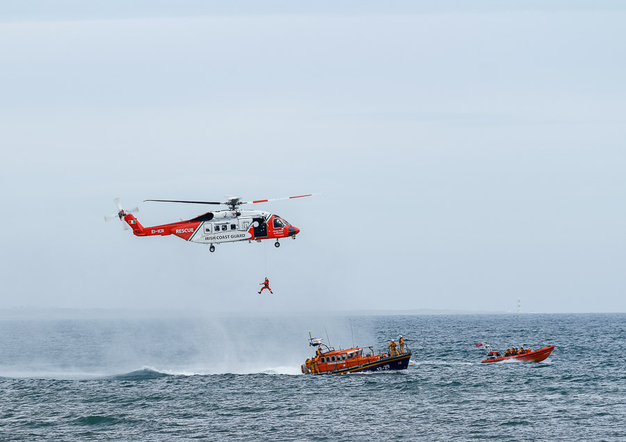 Irish Coast Guard Helicopter in exercise with RNLI Lifeboat